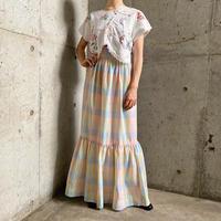 1970s パステルチェック柄ティアードスカート (PINK) [9001]