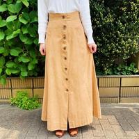 1970s montgomery WARD ベージュフロントボタンマキシ丈スカート[9194]
