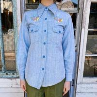 1970'S VINTAGE イニシャル刺繍シャンブレーシャツ [9104]