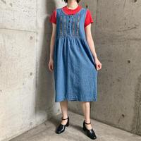 ピンク小花柄刺繍 お花型ボタン デニムジャンパースカート[9546]