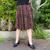 EURO vintage ドットエンボス 幾何学柄 プリーツスカート[2236]