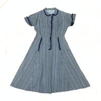 1940'S VINTAGE ストライプ柄シャツワンピース(BLUE)[7041]