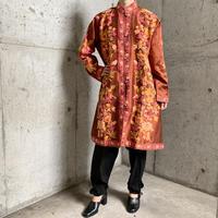 カシミール刺繍 ロングジャケット ブラウン[9656]