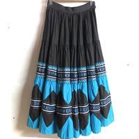 1950'S VINTAGE メキシカンパティオスカート(BLACK × BLUE)[7374]