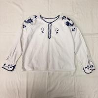 メキシコお花刺繍トップス(WHITE × BLUE)[7087]