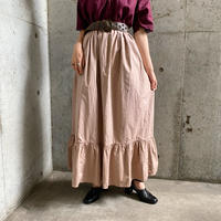 1940〜50s French vintageギャザー フレアスカート (PINK GRAY overdyed) [8199]