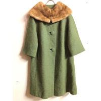 50'S VINTAGE ミンクファー付ウールコート (GREEN) [7310]