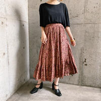 ペイズリー柄 裾フレアデザイン シルクスカート[8126]