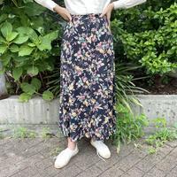 フロントボタン ネイビー花柄 レーヨンスカート[2234]