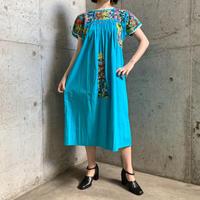 1970'S VINTAGE メキシコサンアントニオ刺繍ワンピース(BLUE)[7067]