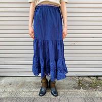 EURO vintage 裾二段刺繍レース後染めペチコートスカート (NAVY overdyed) [7681]