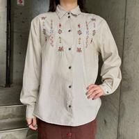 ストライプ柄×お花刺繍コットンシャツ [9946]