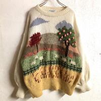 牧場モチーフモヘアデザイナーズニット(WHITE)[7301]