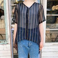 Made in INDIA ストライプパターン シースルー デザインシャツ[7706]