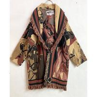 1990'S  VINTAGE 馬モチーフゴブラン織フリンジガウン (BROWN) [7427]
