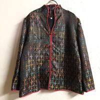 お花織り柄チャイナシャツ(BLACK)[7325]