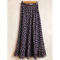 花柄裾フリルマキシスカート(BLACK×PINK)[7218]