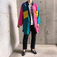 クレイジーパターン オーバーサイズ シルクシャツ[8152]