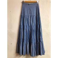 1970'S VINTAGE パッチワーク柄ティアードスカート(BLUE)[7126]