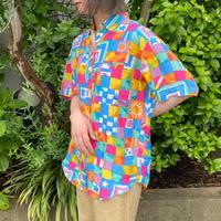 1990s カラフル ポップ柄 シルク 半袖シャツ[9117]