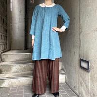 1920s French antique イニシャル刺繍入りリネンワンピース (blue overdyed) [9828]