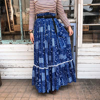 小花柄パッチワークプリントティアードスカート (BLUE) [9004]