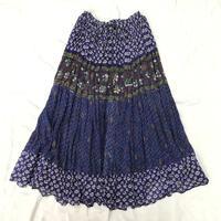 インド綿ゴールドスタンプ入りお花柄スカート(BLUE × PURPLE)[7057]