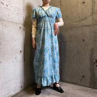 EURO vintage カシュクールデザイン花柄ナイティドレス (blue overdyed) [9978]