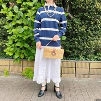 1990s「POLO Ralph Lauren」白×ネイビー ラガーシャツ[7627]