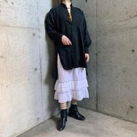 1920'S France antique スタンドカラー コットンドレスシャツ(BLACK overdyed) [7715]