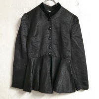 MADE IN FRANCE ベロア切替えペプラムジャケット(BLACK)[7235]