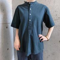 1950s Bulgaria type ショートスリーブ ノーカラーシャツ(BLACK)[8106]