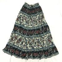 インド綿ペイズリー柄スカート(WHITE × BLACK)[7058]