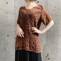vintage インドレーヨン トップス(BROWN)[7146]