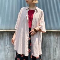 used リネン オーバーシャツ(pink overdyed)[8778]