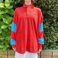 1990s「adidas」赤と青のラガーシャツ[7631]