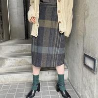 1980s france vintage グレーカラーチェック Wool タイトスカート[8478]