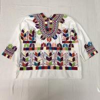 1970'S VINTAGE メキシコ刺繍ウィピルトップス(WHITE )[7085]