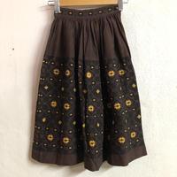 グアテマラ刺繍スカート (BROWN) [7277]
