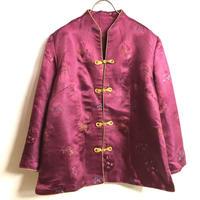 植物織り柄チャイナシャツシャツ(RED)[7326]