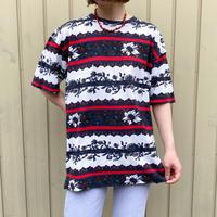 used 鹿の子生地 ボタニカル柄 Tシャツ[8744]
