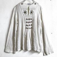 1970'S VINTAGE フローラルモチーフ インド綿トップス (WHITE) [7139]