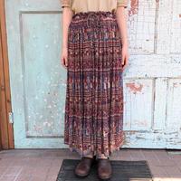 1970's ボタニカル×人柄 インド綿スカート (RED×BLUE) [7446]