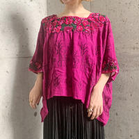 ピンク花刺繍×鹿柄ロジック刺繍 メキシカンウィピル[9663]