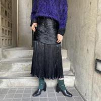 France vintage ブラック サテン地 ドレープスカート [8530]