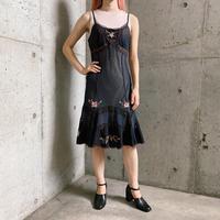 バラ刺繍 レース デザイン キャミソールワンピース[8067]
