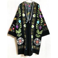 VINTAGE スザニ刺繍 ボタニカル柄ベロアガウン (BLACK) [7285]