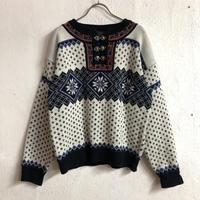 コンチョ付ノルディックセーター (WHITE×BLUE) [7225]