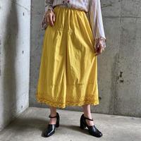 EURO vintage 裾刺繍後染めペチコートスカート (YELLOW overdyed)  [7678]