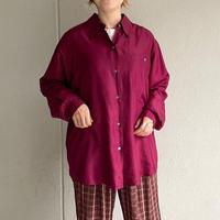 ボルドーカラー オーバーサイズ シルクシャツ[8151]
